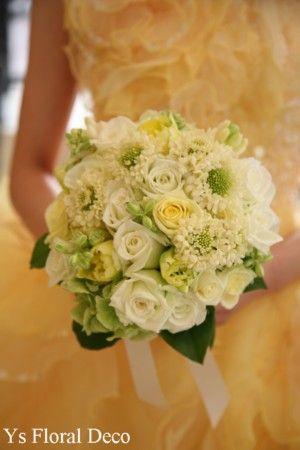 淡い黄色のクラッチブーケ  @横浜セントジェームズ迎賓館  ys floral deco