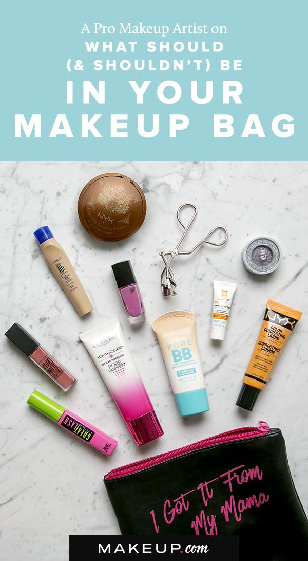 The makeup you want to keep in your beauty bag isn't always the makeup you need to keep on hand. A makeup artist tells us which items should always be in your beauty bag, as well as which items you can always leave at home.