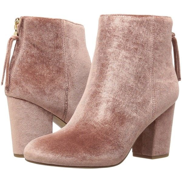 Steve Madden Cynthiav (Pink Velvet) Women's Boots (555 BOB) ❤ liked on Polyvore featuring shoes, boots, ankle boots, pink, pink boots, round toe boots, steve madden shoes, pink ankle boots and short high heel boots