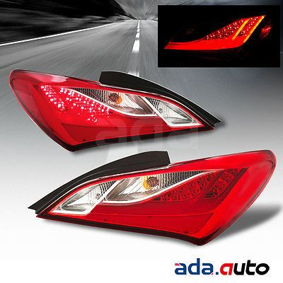 For 2010-2016 Hyundai Genesis Coupe [LED] Scarlet Red Tail Lights Lamps Set #Motors #Parts #Accessories #OEM#92401-2M050+92402-2M050