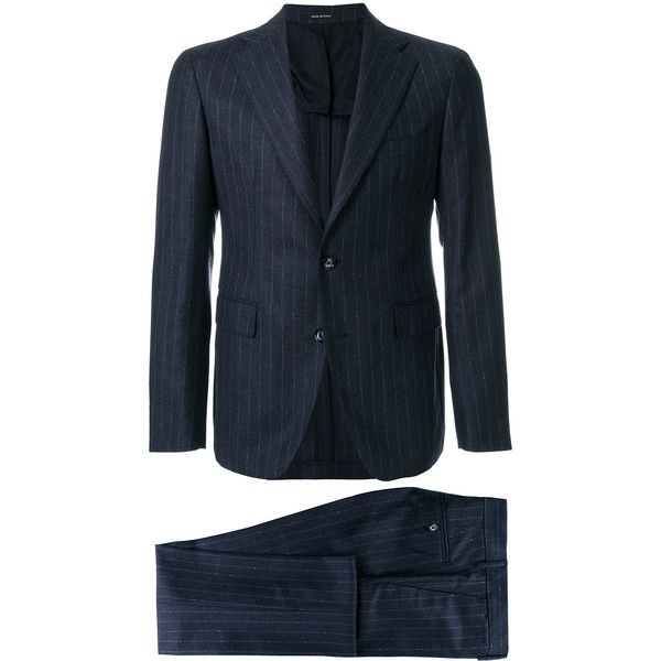 Tagliatore pinstripe suit ($760) ❤ liked on Polyvore featuring men's fashion, men's clothing, men's suits, blue, mens pinstripe suit, mens blue suit and mens blue pinstripe suit