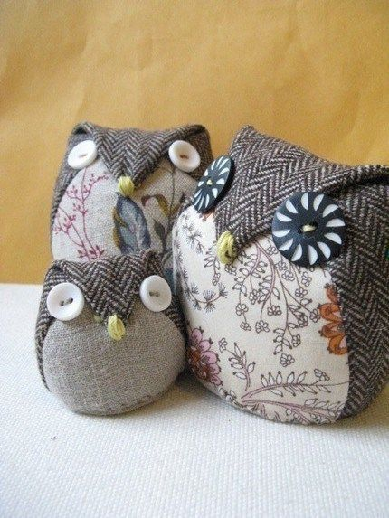 Old Wise Owl Made from a suit jacket???? Could fill with sand and make door stops.