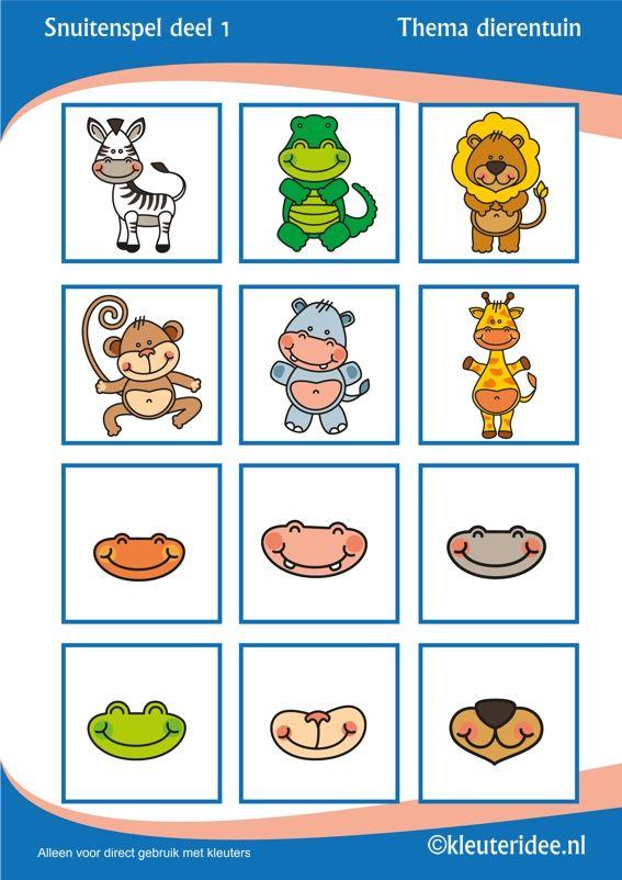 Snuitenspel voor kleuters deel 1,  thema dierentuin, juf Petra van Kleuteridee.nl , snout game for preschool, free printable.
