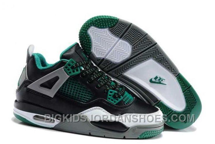 http://www.bigkidsjordanshoes.com/hot-nike-air-jordan-4-kids-black-green-grey-shoes.html HOT NIKE AIR JORDAN 4 KIDS BLACK GREEN GREY SHOES Only $84.30 , Free Shipping!