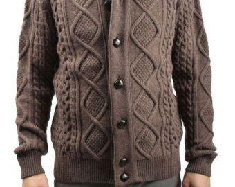 Tejido a mano de los hombres chaqueta suéter de por BANDofTAILORS
