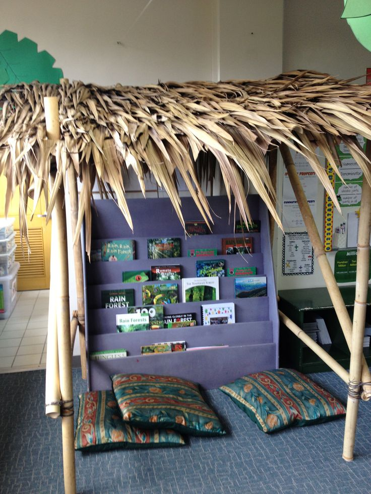 Bamboo reading hut for rainforest classroom