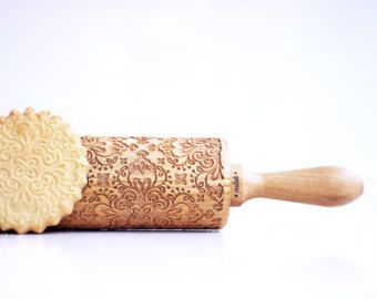 DAMASK - embossing rolling pin, laser engraved rolling pin. Ethnic flower damask pattern.