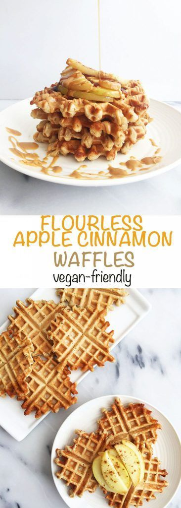 Healthy Flourless Apple Cinnamon Waffles! Vegan-Friendly and gluten-free. Made with oat flour, coconut oil and healthy ingredients!