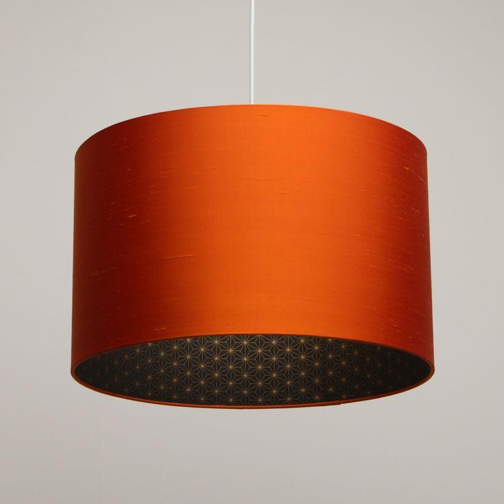 Image of Flame orange silk lampshade with gold geometric print - Orange lampshade