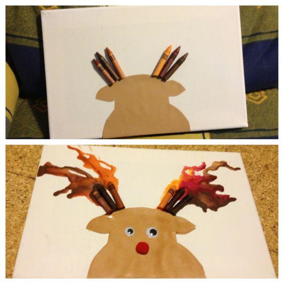 Reindeer crayon art #christmas #diy