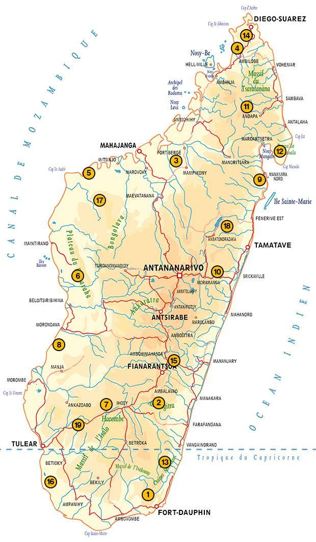 Mapa de los Parques Nacionales de Madagascar