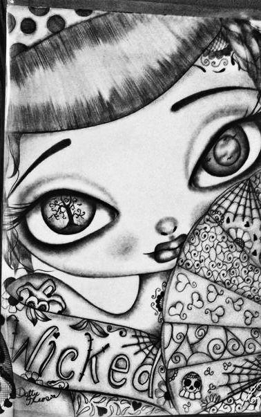 dottie gleason dmgleason1 adult coloringcoloring pagesbig eyessugar skullsjasmineanglescolor