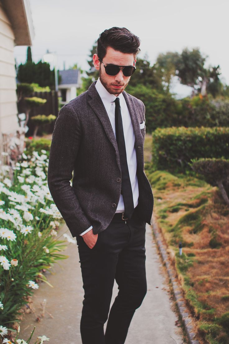 black pants, charcoal tweed jacket