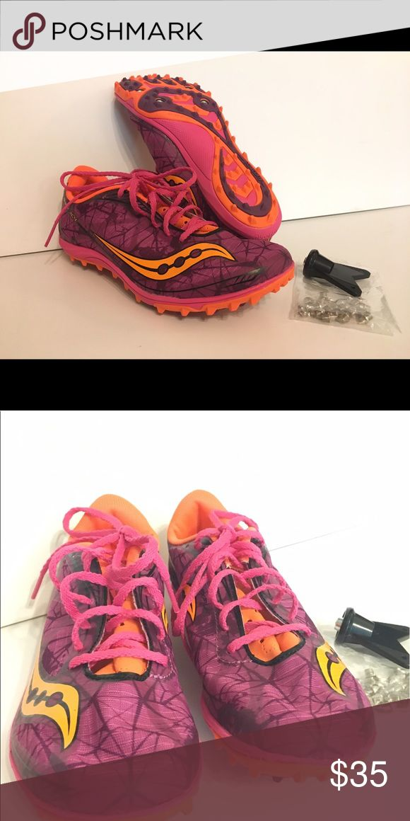 Saucony Shay XC4 spike cross country running shoes Saucony is among the best names in running shoes. These cross country shoes are new, never been worn, no tags. Color = raspberry/orange. Saucony Shoes Athletic Shoes