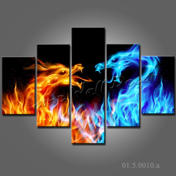 NO FRAME CANVAS ONLY 5 pieces wall painting dragon fair blue red battle abstract the fire home decor canvas prints Free Shipping-in Painting & Calligraphy from Home & Garden on Aliexpress.com | Alibaba Group
