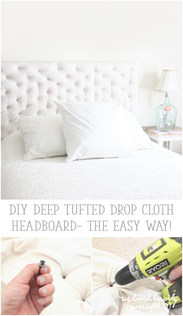DIY Deep Tufted Drop Cloth Headboard- the easy way!