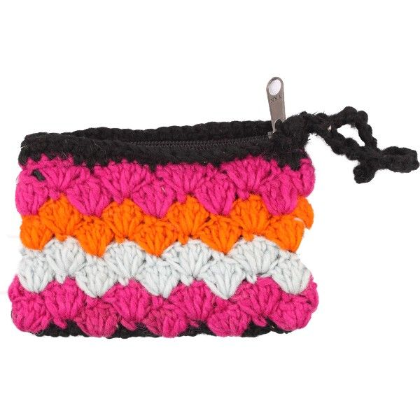 This purse has been knitted using wool into a single compartment purse with a zip at the top and a loop for easy hand carriage.