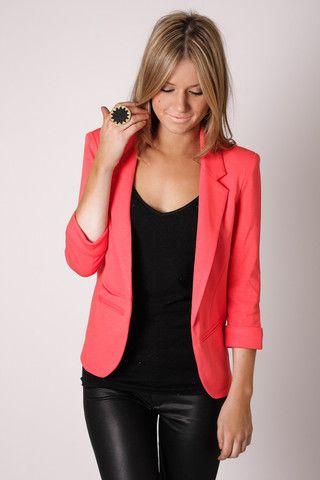 coral blazer over all black.Light Pink Blazers, Coral Blazers, All Black, Black Leather, Black Outfit, Leopards Prints, Leather Legs, Leather Pants, Black Pants