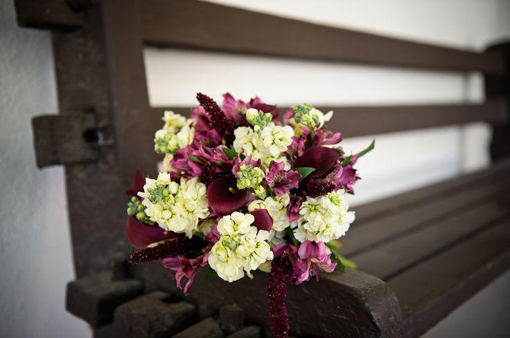 Flowers by Teresa Soleau. Photo by luluphoto. Bride. Bouquet. Stock. Alstromeria. Peruvian lily. Calla lily. Amaranth. Purple. Ivory. Plum. Raspberry. Pink. Green.