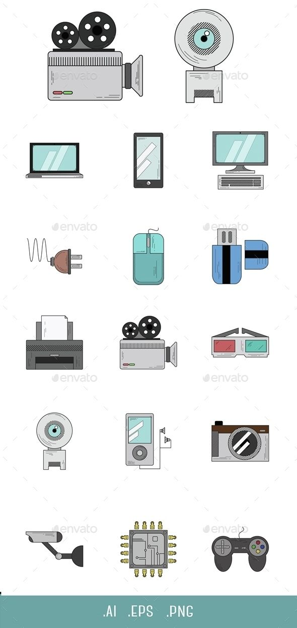 Beautiful and professional Technology icon set with color.  Archive contains easy to edit .EPS and .AI vector format. .PNG files i