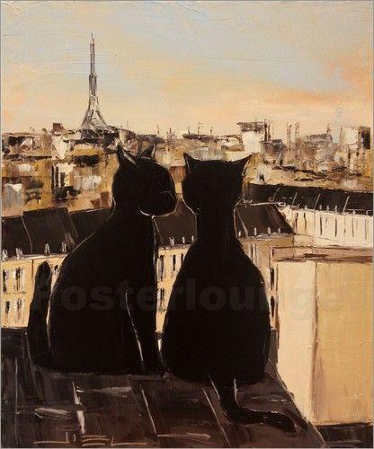 schwarze Katze über den Dächern von Paris (black cats on a parisian roof) - by JIEL