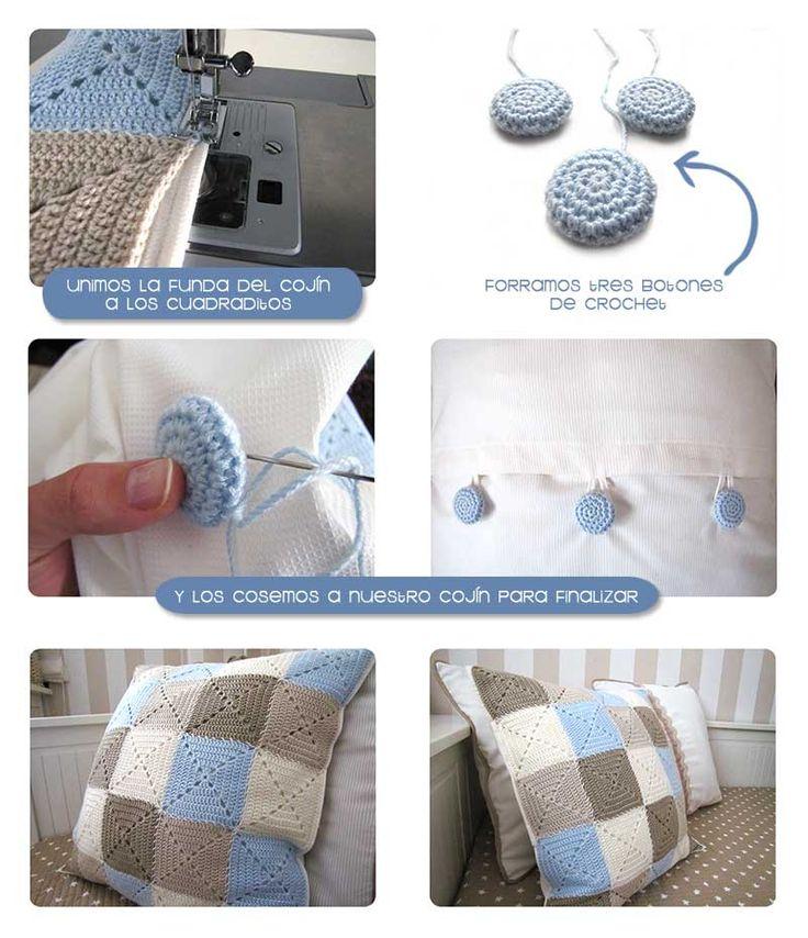 Cojín de crochet de Granny Squares DIY  ❥Teresa Restegui http://www.pinterest.com/teretegui/❥