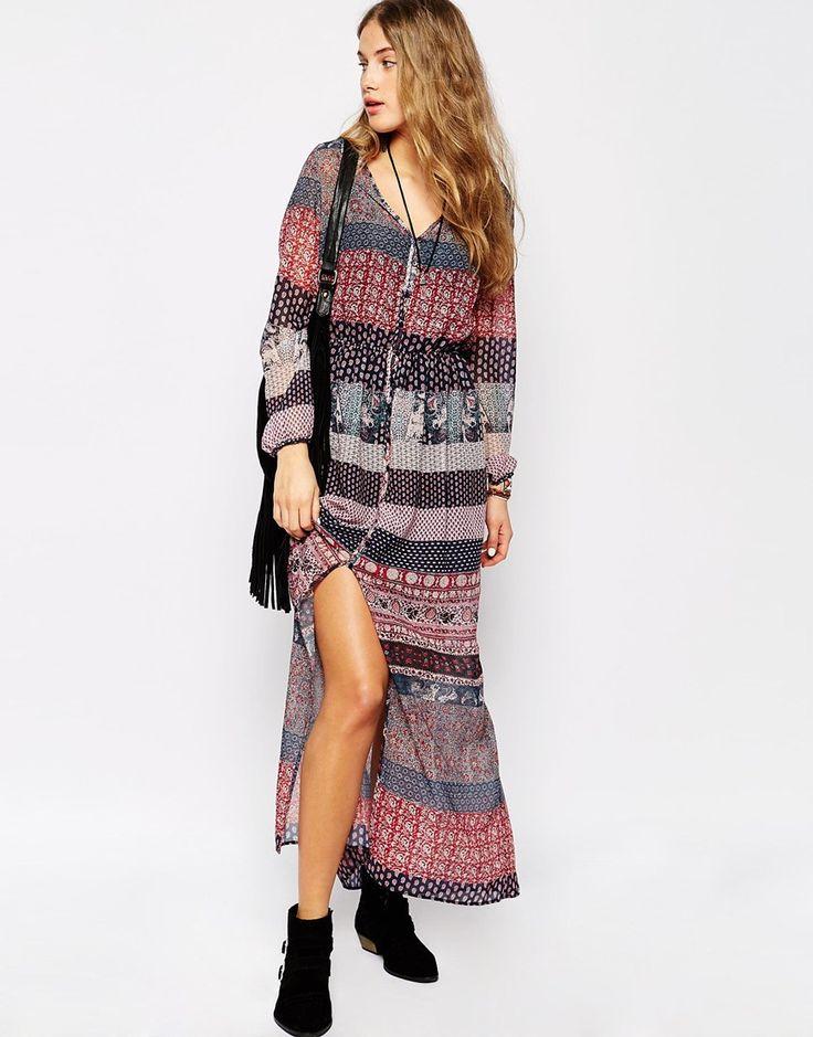 Image 1 ofPull&Bear Paisley Maxi Dress