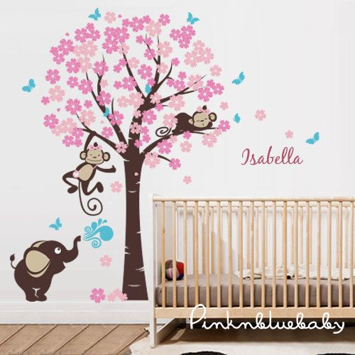 Cherry blossom tree with girl monkeys elephant by pinknbluebaby, $138.00