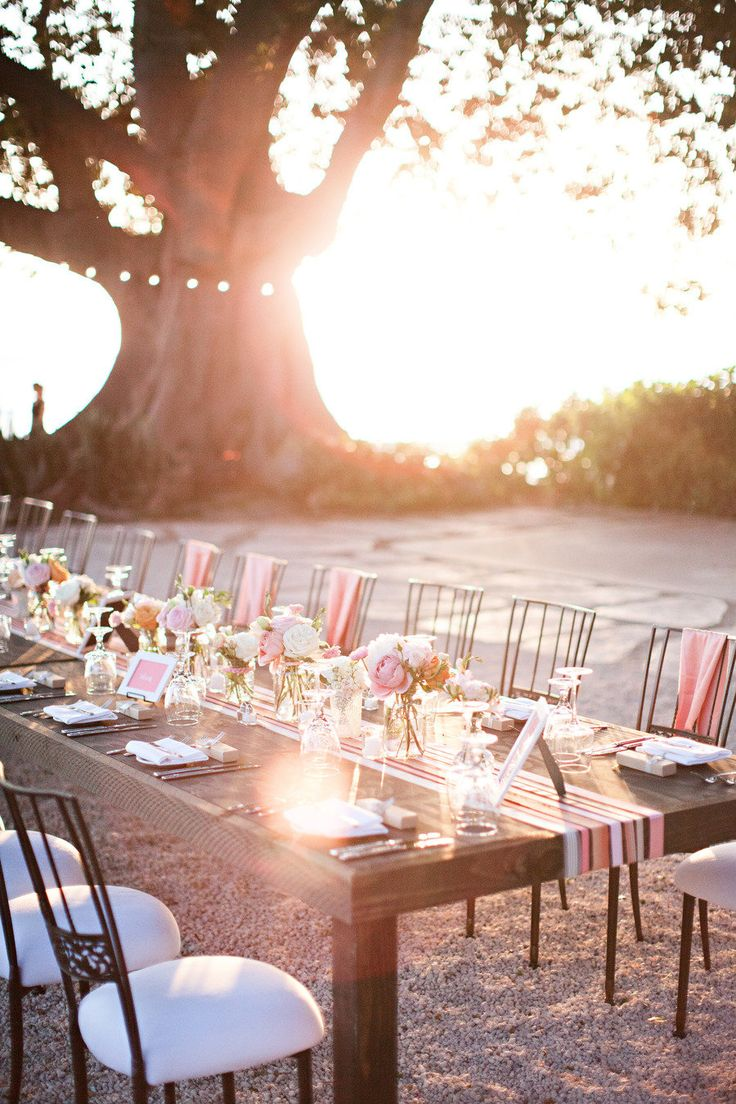 outdoor dinner party inspiration, love the sweet centerpieces, runner and frames.