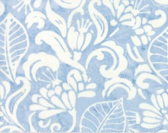 Latitude Batik Fabric - Moda Fabric - Half Yard - Kate Spain Light Blue Landmark Flowers and Leaves Hand Dyed Fabric Quilt Fabric 27250 253