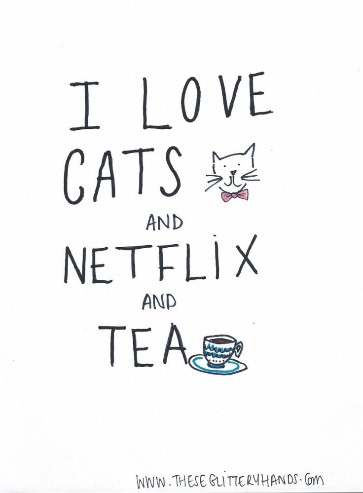 I love cats and Netflix and tea quote
