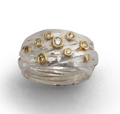 Silver Wrapping WIth 7 Diamonds In 18ct Yellow Gold Settings    Shimara Carlow @ DESIGNYARD Dubiln