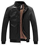 WenVen Men's Winter Fashion Faux Leather Jackets(Black, US size M)