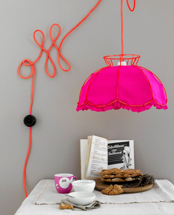 "Neon Pink in the home --- like how the cord is done... Could paint leaves on the ""vine"" (wall)"
