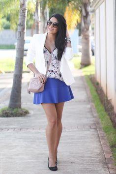 Look: Blazer Branco + Saia Rodada