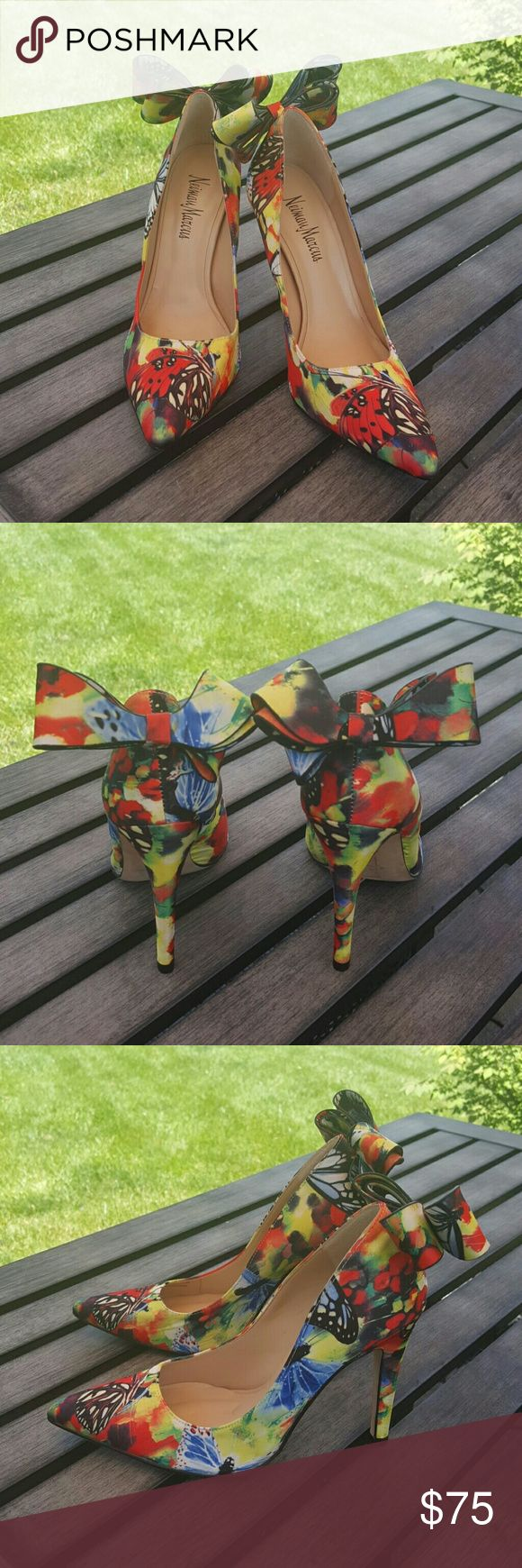 """Rare NEIMAN MARCUS Butterfly Heels These gorgeous Butterfly heels are by Neiman Marcus.  3D bow on back, and heel measures approx 4"""". Size 5-1/2""""M Neiman Marcus Shoes Heels"""
