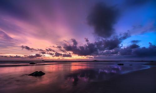 Playa Ngwesaung al atardecer, Pathein, Ayeyarwady, Myanmar (Birmania)