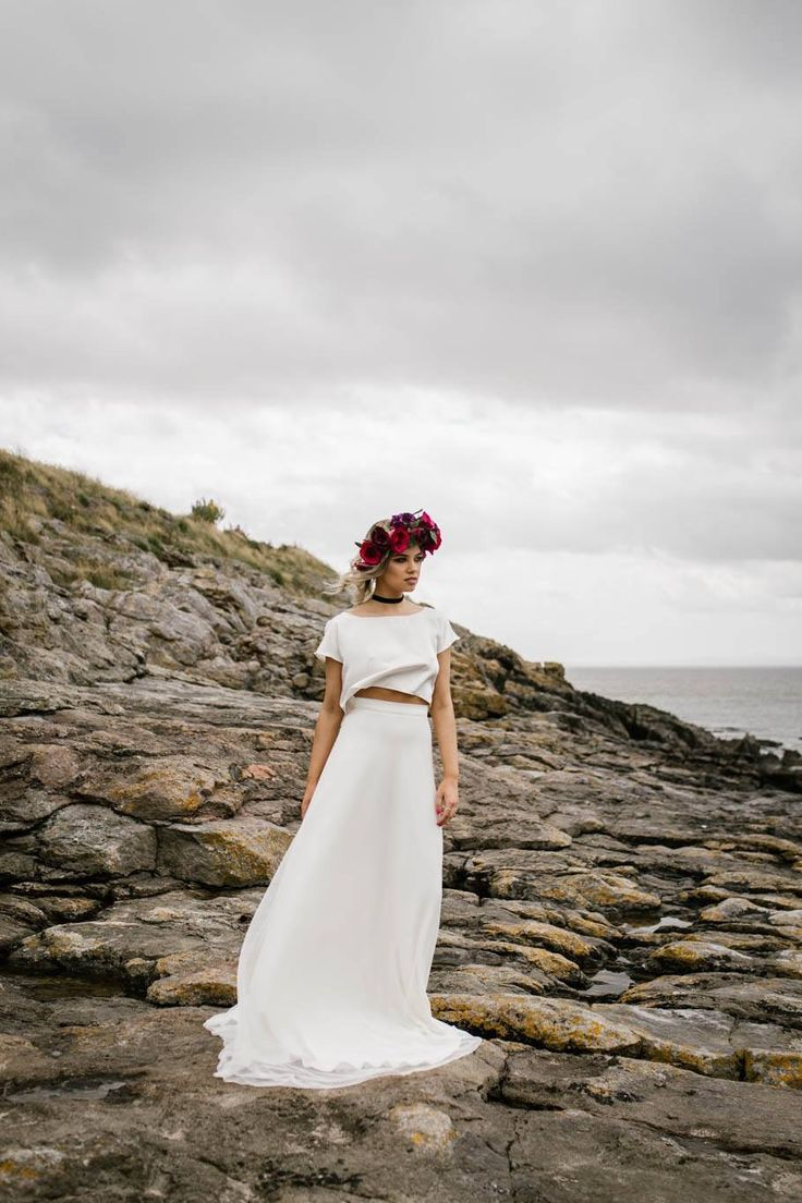 Ellie wearing E&W Frankie from Rachel Burgess Bridal Boutique. Floral crown by Sweet Peony