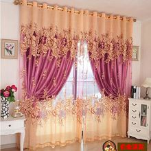 Free Shipping C003 Curtains For Living Room Purple Embroidery Window Curtains Ready Made Blackout Curtain and Tulle 100*270cm(China (Mainland))