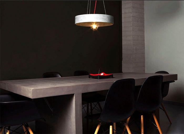 Decorative Concrete Design for Modern Interiors cement pendant lamp table
