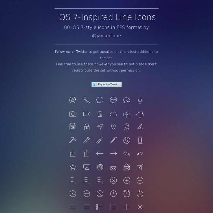 iOS 7-Inspired Line Icons 80 iOS 7-style icons in EPS format by @Jay Hart lane