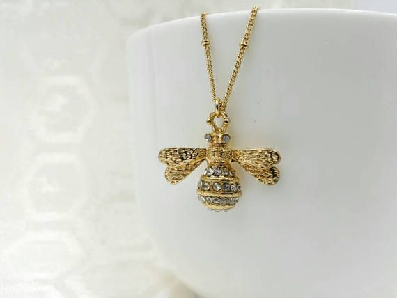 Bee Necklace Bumble Bee Necklace Crystal Gold Bee Necklace