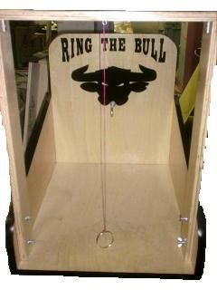 Name: Ring The Bull Game    Description: Swing the metal ring at the end of the string and try to get it to hook onto the bulls nose.