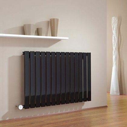 Milano Alpha Electric - Black Horizontal Single Slim Panel Designer Radiator 635mm x 980mm - http://www.bestheating.com/milano-alpha-black-horizontal-single-slim-panel-electric-designer-radiator-635mm-x-980mm.html