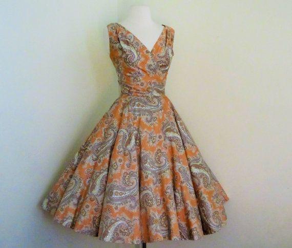 1950's Paisley Print Dress