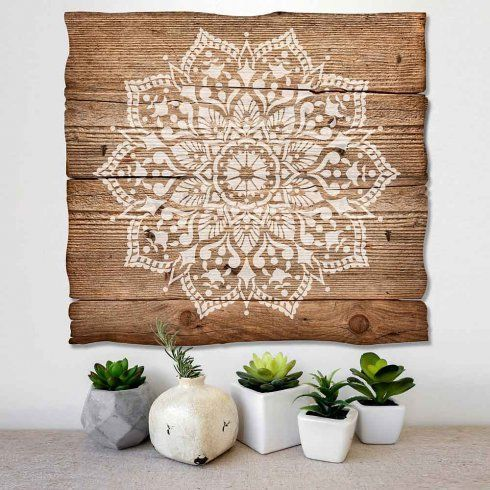 passion mandala stencil is an intricate pattern from cutting edge stencils painted on wooden wall art - Wooden Wall Decoration Ideas