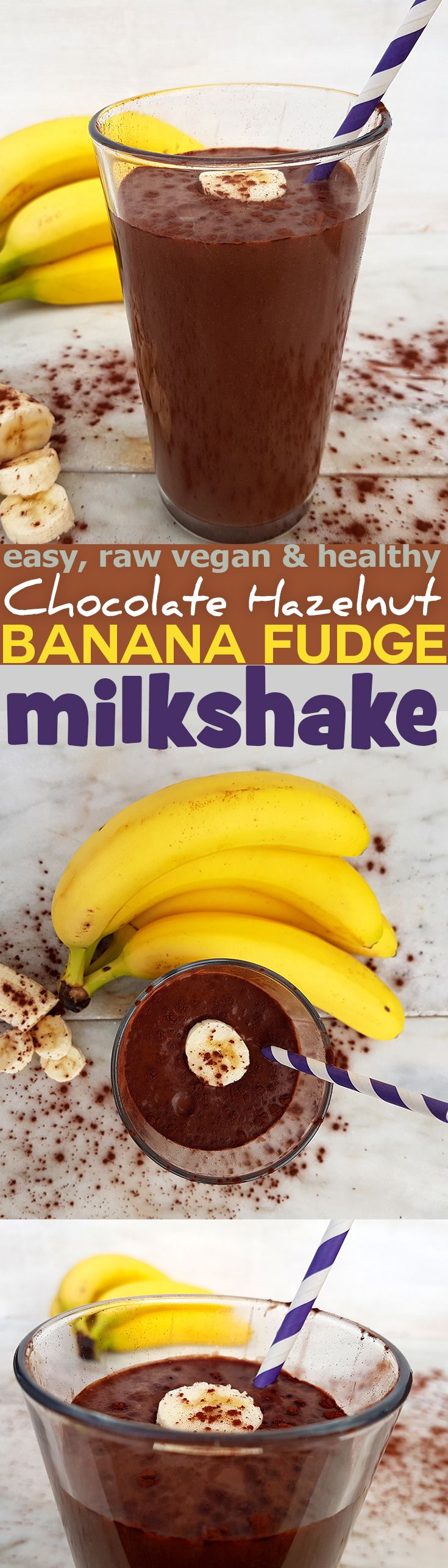 Quick and easy recipe for raw dairy-free Chocolate Hazelnut Banana Fudge Milkshake. Vegan, dairy free, gluten free and healthy. via @nestandglow