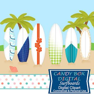 What's in the Candy Box: New Surfboard Clip Art! - Commercial Use OK. Great for all your scrapbook and graphic design projects!