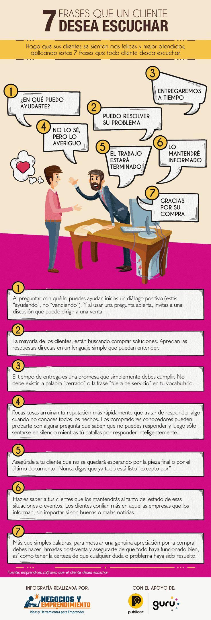 Aquí te dejo una infografía con 7 frases que los clientes desean escuchar. #Marketing #Infografia #Emprendedores