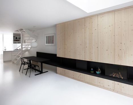 Lots of white + Bold Color + Light Wood + Everything Integrated = Like +